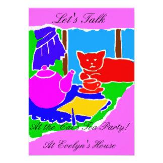 INVITATION TO THE CATS TEA PARTY COLORFUL 2VERSION CUSTOM INVITE