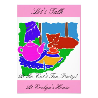 INVITATION TO THE CATS TEA PARTY COLORFUL PINK FUN INVITES