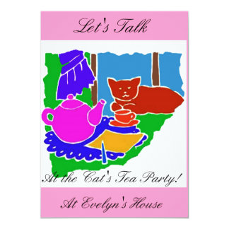 INVITATION TO THE CATS TEA PARTY/COLORFUL PINK FUN