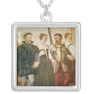 Invitation to the Dance Square Pendant Necklace