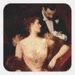 Invitation to the Waltz, 1895 (oil on canvas) Square Sticker