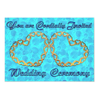 Invitation - Two Gold Hearts with Blue Leaves
