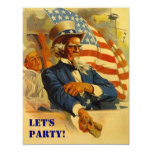"""Invitation Uncle Sam Independence Day 4th of July 4.25"""" X 5.5"""" Invitation Card"""
