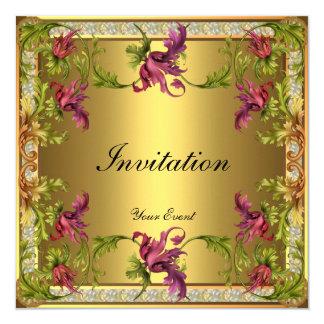 Invitation Vintage Gold Victorian Floral Frame