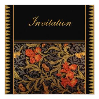 "Invitation Vintage Victorian William Morris 5.25"" Square Invitation Card"