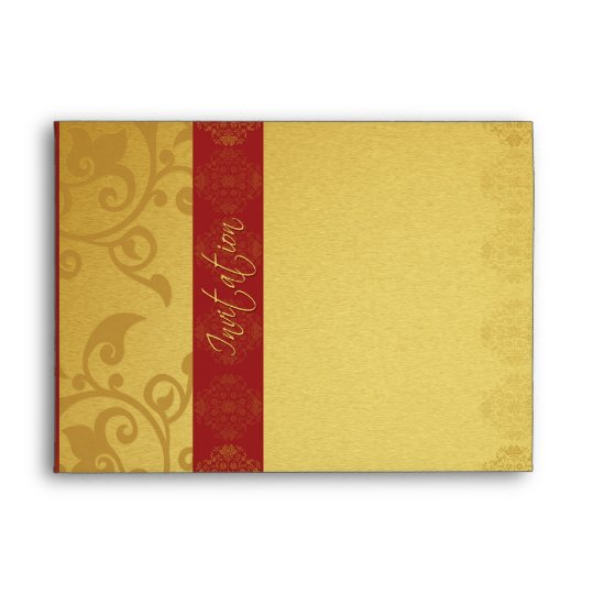 Invitation Wedding Envelope Golden Red