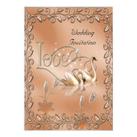 Invitation Wedding Love Swans Floral