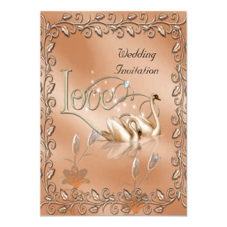 Invitation Wedding Love Swans Floral