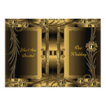 Invitation Wedding Old Gold Art Deco Floral Personalized Announcement