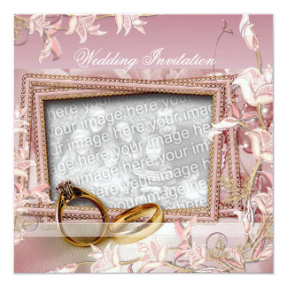 Invitation Wedding Pink Photo Floral Frame Rings Invite