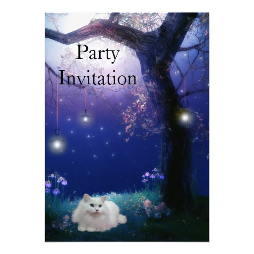 Invitation White Cat At The Tree Party Announcement