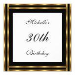 """Invitation White Gold Black 5.25"""" Square Invitation Card"""