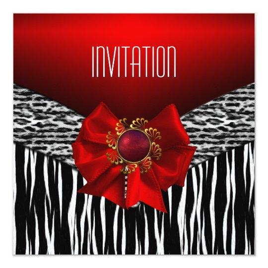 Invitation Wild Red Black White