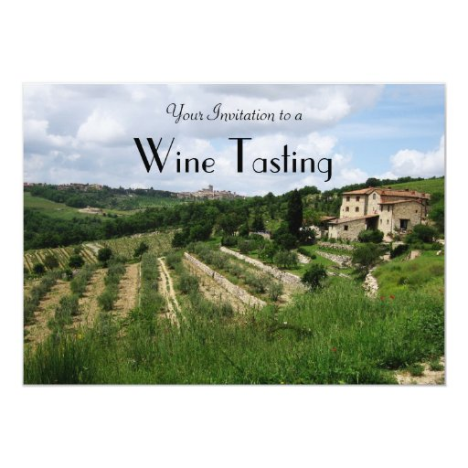 "Invitation - Wine Tasting Tuscan Vineyard and Hill 5"" X 7"" Invitation Card"