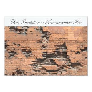 "Invitation with Brick Wall Texture 5"" X 7"" Invitation Card"