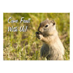 Invitation with cute ground squirrel eating