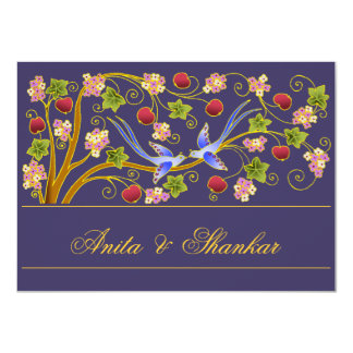 Invitation with Lovebirds on Blue (B)