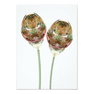 Invitation with Multicolored Flower Illustration