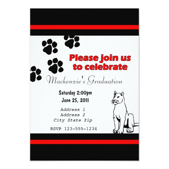 Invitation with Pather/Cougar/Puma Black and Red