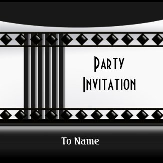 Invitation Zizzago Black White Art Deco invitation