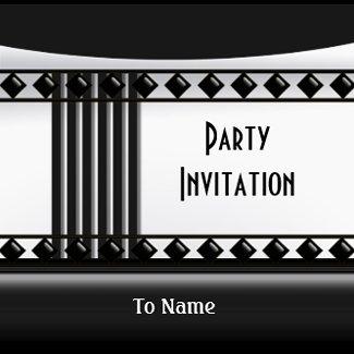 Invitation Zizzago Black White Art Deco invitation