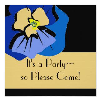 invitationn_BLUE PANSY/STRIPES Card