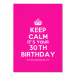 [Crown] keep calm it's your 30th birthday  Invitations