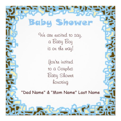 baby boy baby shower blue brown cards square invitation card