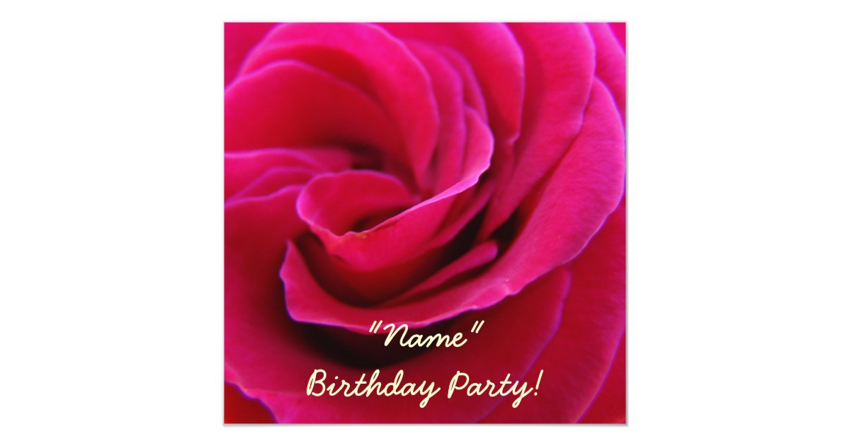 Invitations Birthday Party Pink Rose Flower Cards  Zazzle