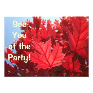 Invitations Custom Red Autumn Tree Leaves Party