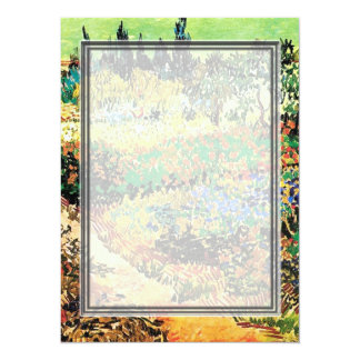 """Invitations. Flowering garden with path 5.5"""" X 7.5"""" Invitation Card"""