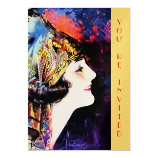 Invitations, martha mansfield, metallic gold stock card