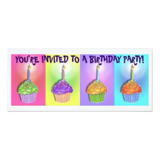"Invitations - Pop Art Birthday Cupcakes 4"" X 9.25"" Invitation Card"