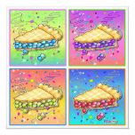 "Invitations - Pop Art Piece of Pie 5.25"" Square Invitation Card"
