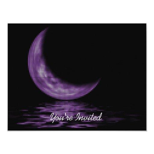 INVITATIONS -Reflection Crescent Moon Lake Purple