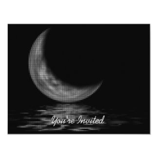 INVITATIONS -Reflection Crescent Moon On Lake B&W