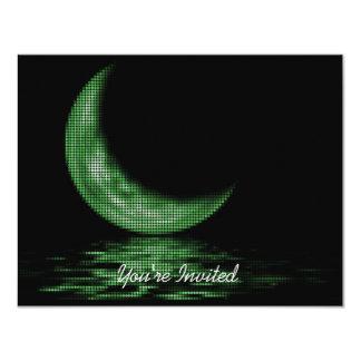 INVITATIONS Reflection Crescent Moon On Lake Green