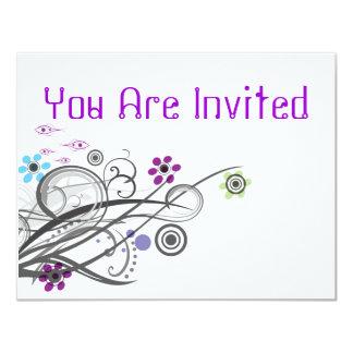 Invitations Retro Circles And Loops Party Invites