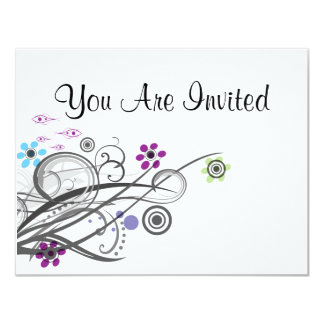 Invitations Retro Circles And Loops Shower Party
