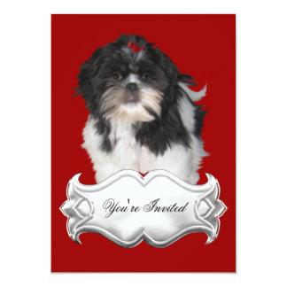Invitations Shitzu Shih Tzu Puppy Dogs Red Black