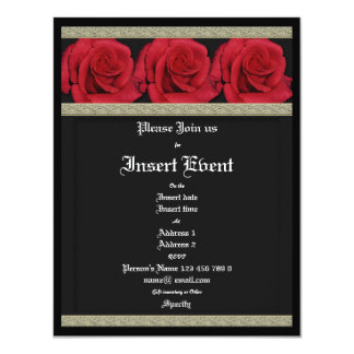 """Invitations template - customizable red roses 4.25"""" x 5.5"""" invitation card"""