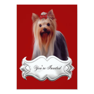Invitations Yorkshire terrier Puppy Dogs Red