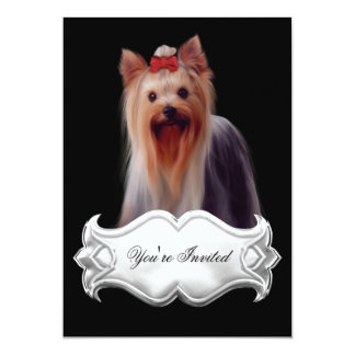 Invitations Yorkshire terrier Puppy Dogs Red Black