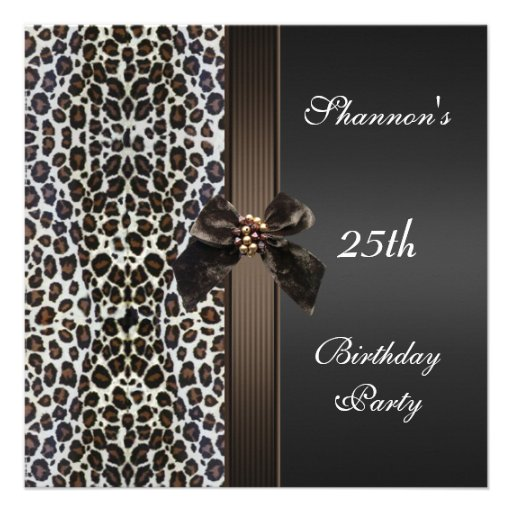 Invite 25th Birthday Party Black Brown Animal Prin Personalized Announcement