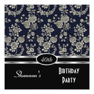 Invite 40th Birthday Party Navy Black Floral Damas