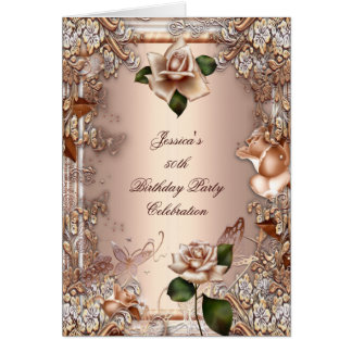 Invite 50th Birthday Party Beige Gold Rose Cream Stationery Note Card
