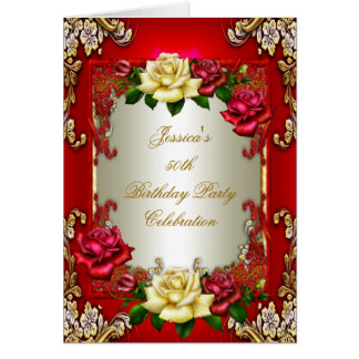 Invite 50th Birthday Party Red Gold Rose Cream