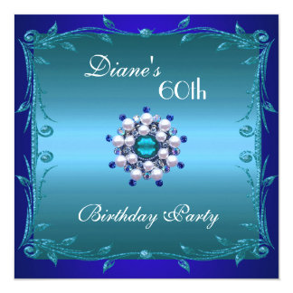Invite 60th Birthday Party Teal Deep Blue Floral