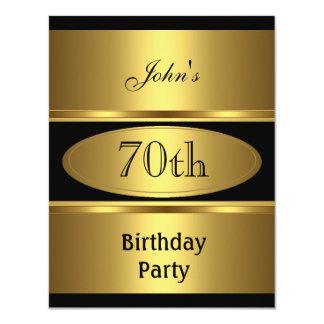 Invite 70th Birthday Party Gold Black Mens