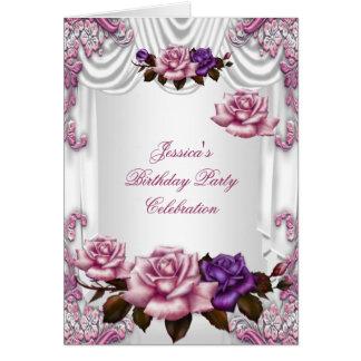 Invite a color de rosa púrpura rosado blanco de la tarjeta pequeña